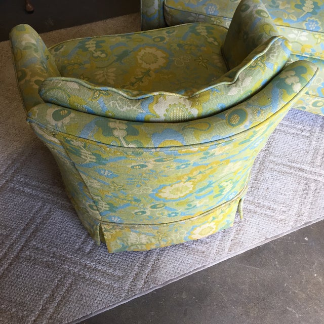 Mid-Century Blue-Green Floral Accent Chair - Image 7 of 8