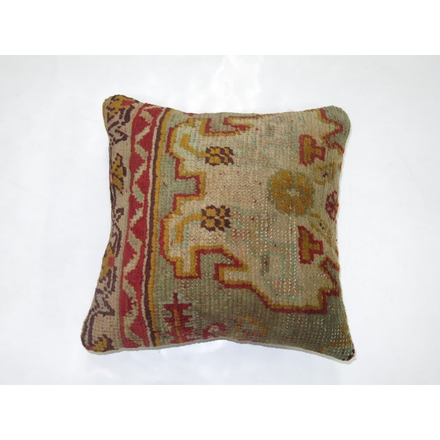 Antique Oushak Rug Pillow - Image 2 of 3