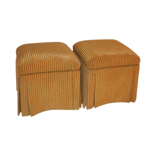 Velvet striped Stools - A Pair
