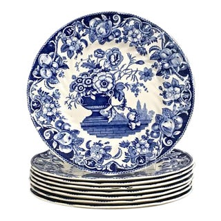 1930's Royal Doulton Salad Plates Pomeroy Blue Design - Set of 8