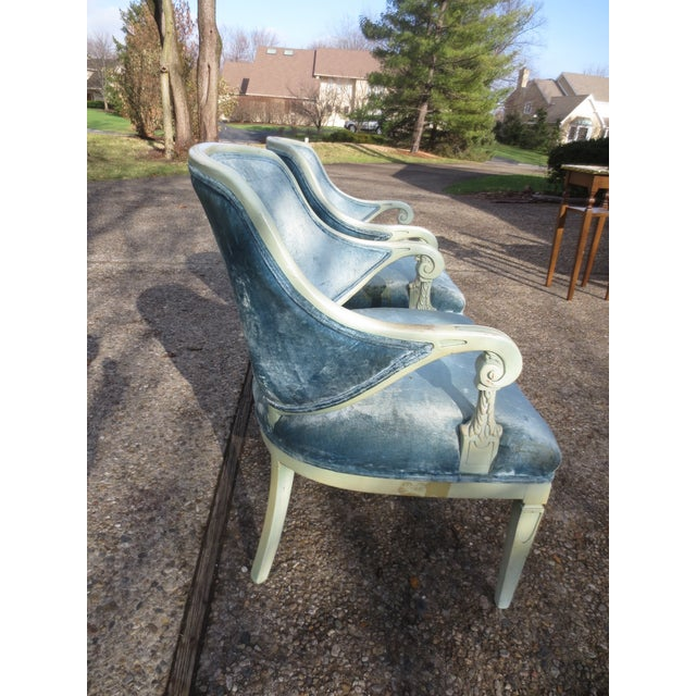 Vintage 1950s Blue Velvet French Chairs - A Pair - Image 3 of 7
