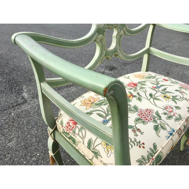 Antique Green French Provincial Carved Wood Small Bench Settee - Image 3 of 11