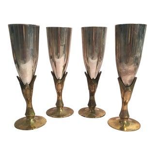 Godinger Silver Plated & Brass Bird Goblets - Set of 4