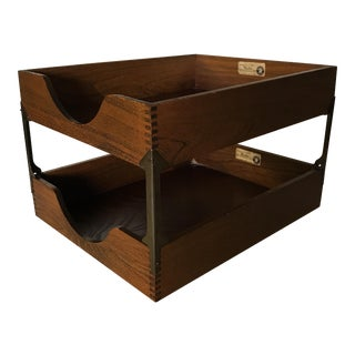Antique 2-Tier Wooden Filing Tray