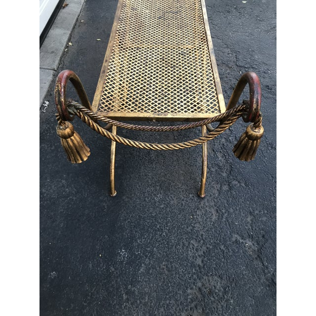 Italian Gilt Metal Rope and Tassel Double X Base Bench - Image 3 of 9