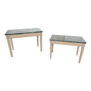 Vintage Neoclassical Marble Top End/Side Tables - a Pair