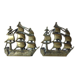 Antique Solid Brass Ship Bookends-A Pair