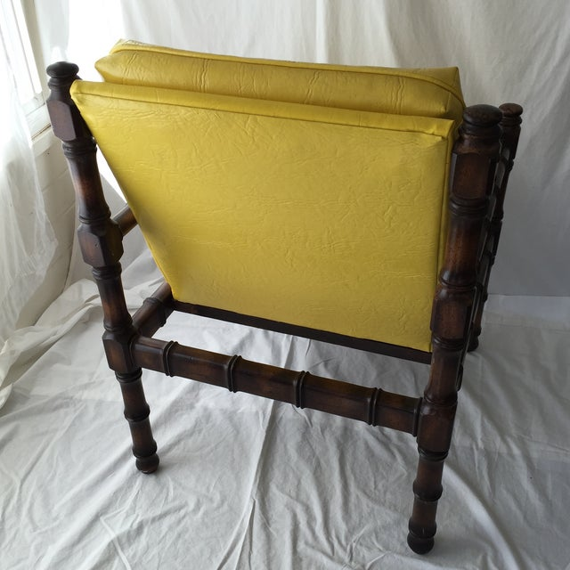Vintage Bamboo Motif Yellow Chair - Image 5 of 7