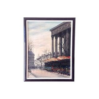 Paul Lambert 1960s Parisian Street Scene Painting