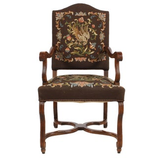 1920s Needlepoint Fauteuil Floral W/Bird