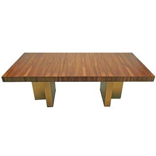 Milo Baughman Exotic Brazilian Rosewood and Brass Dining Table for Thayer Coggin