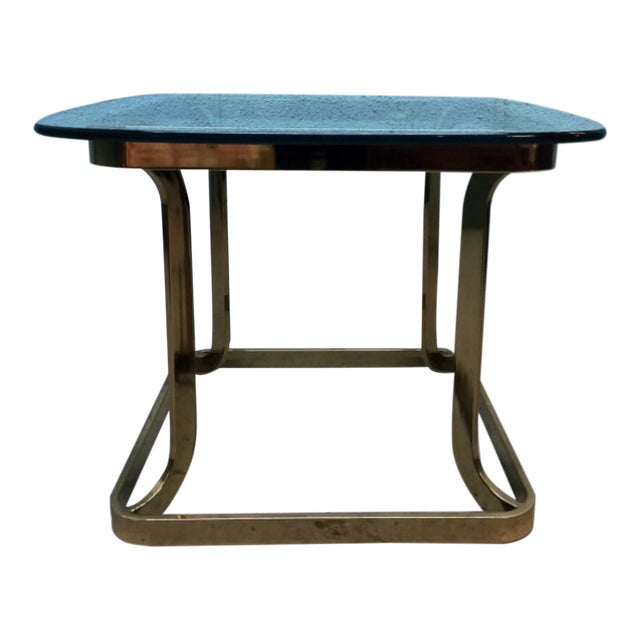 Milo Baughman Style Brass Side Table - Image 1 of 6