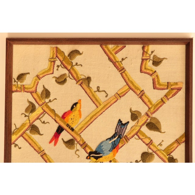 Songbirds on Bamboo Lattice - Framed Crewel Embroidery - Image 4 of 7