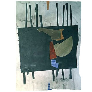 Vintage Abstract Watercolor Painting and Collage by Stokes