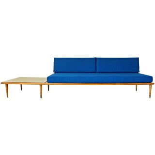 Mid Century Long Blue Tweed Floating Platform Sofa