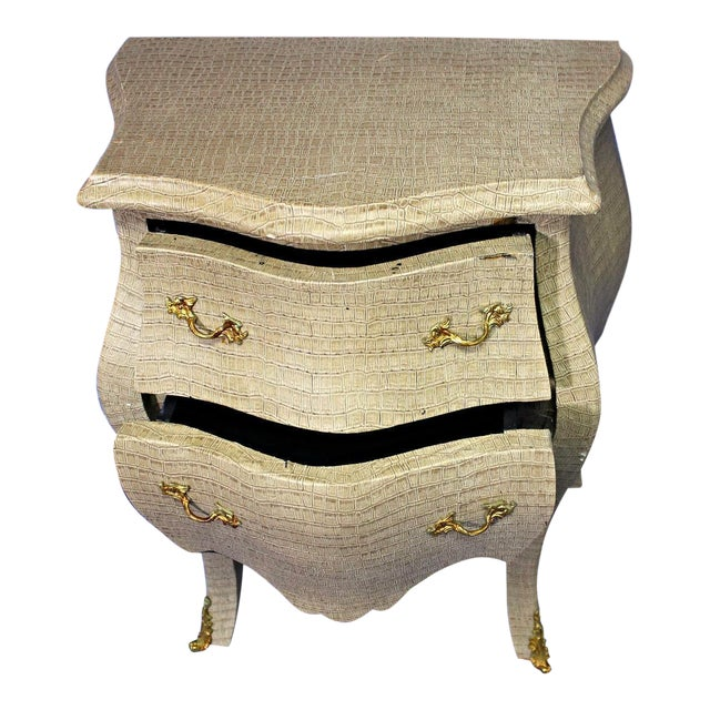 Louis XV Faux Crocodile Skin Bombe Nightstands - Image 1 of 4