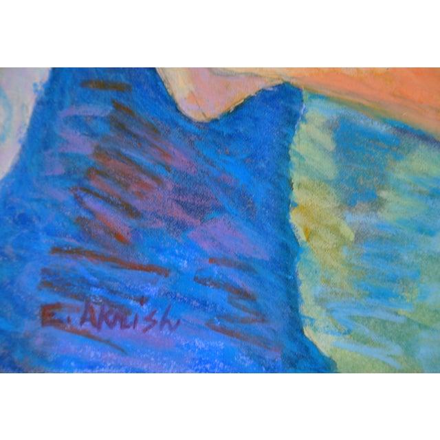 """Esther Akrish """"Pensive"""" Original Watercolor - Image 4 of 4"""