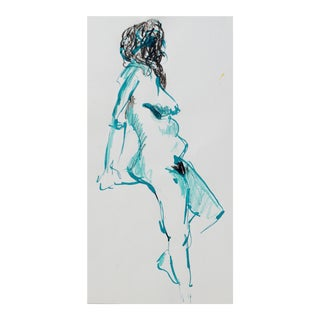 """""""Turquoise Nude"""" Female Drawing by Martha Holden"""