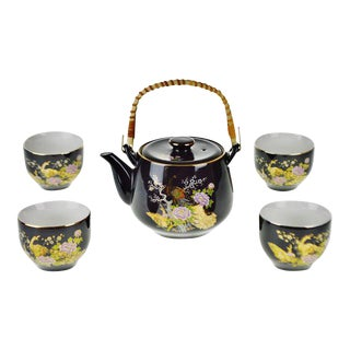 Vintage Japanese Tea Set With Gilt Peacock Design - 5 piece set