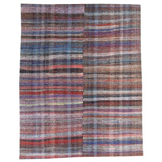 Vintage Turkish Multi-Colored Handmade Flatweave Rug - 7′6″ × 11′1″