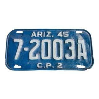 Arizona Az 1945 License Plate