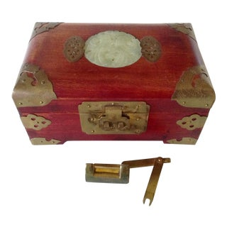 Chinese Rosewood & Jade Jewelry Box