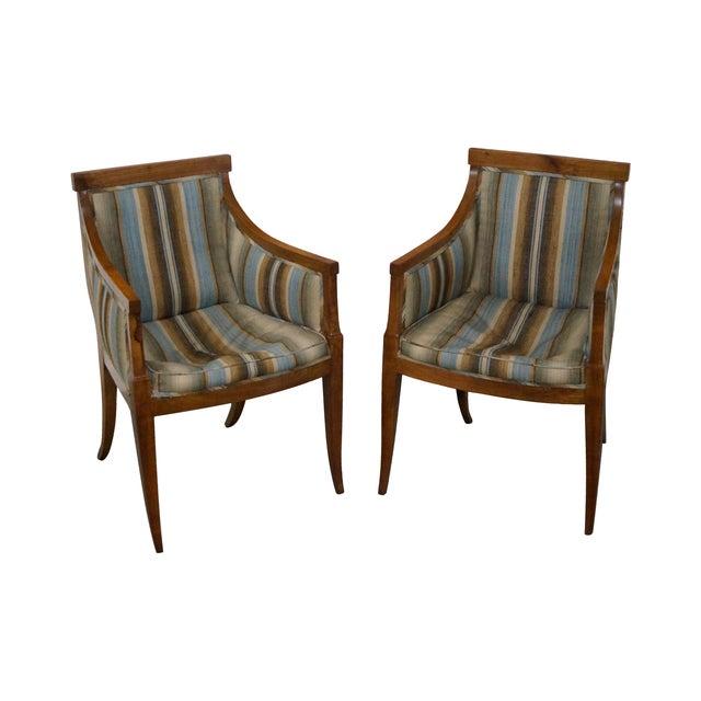 Image of Antique Italian Walnut Klismos Arm Chairs - Pair
