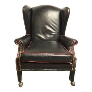 Brass Studded Wingtip Leather Executive Chair