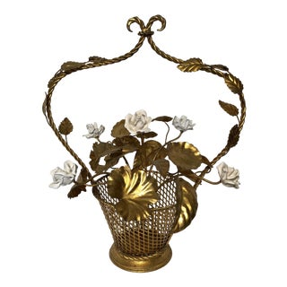 Vintage Italian Gold Leaf Porcelain Flowers Basket