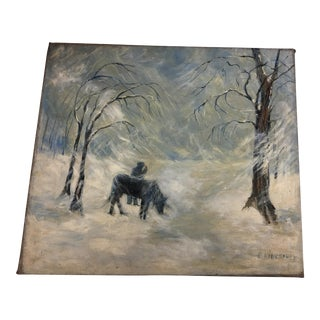 "Vintage E. Kingsbury ""Horse & Man in Snow"" Painting"