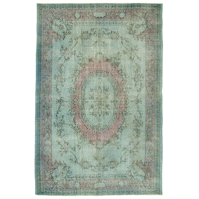 "Vintage Distressed Turkish Rug - 6'5"" X 9'7"" - Image 1 of 4"