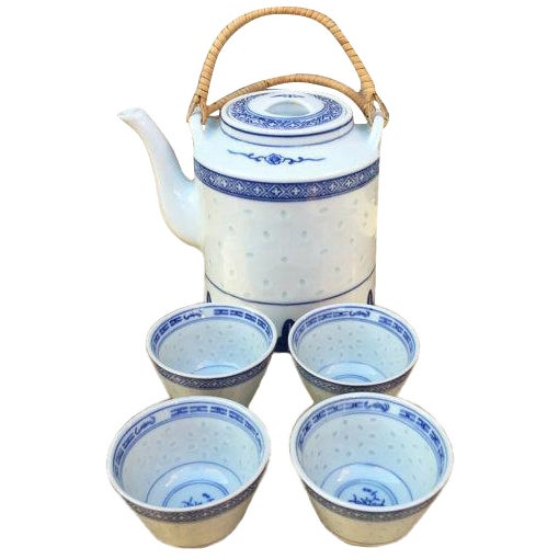 Blue and White Chinoiserie Teapot & Cups - Image 1 of 6