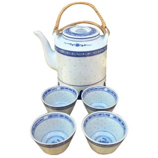 Vintage 1940s Chinoiserie Teapot & Four Cups