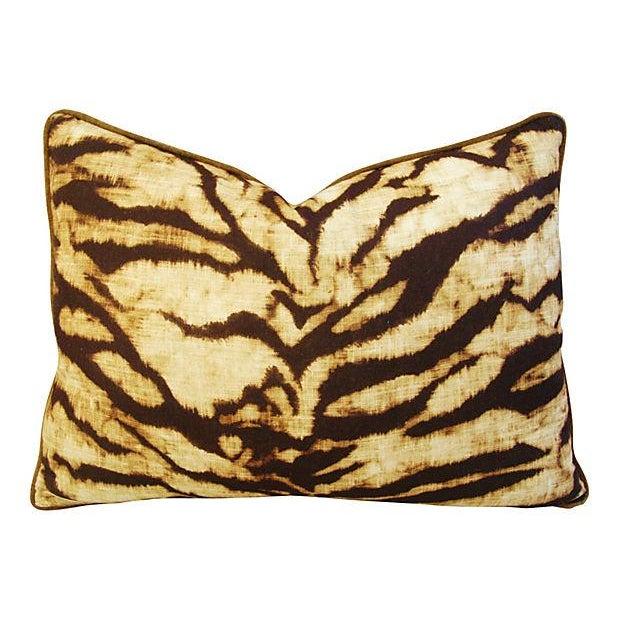 Schumacher Tiger Linen & Velvet Pillows - A Pair - Image 5 of 7