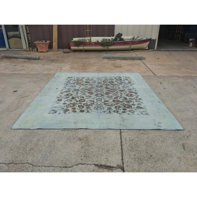 """Overdyed Distressed Persian Rug - 9' X 10'4"""" - Image 2 of 10"""