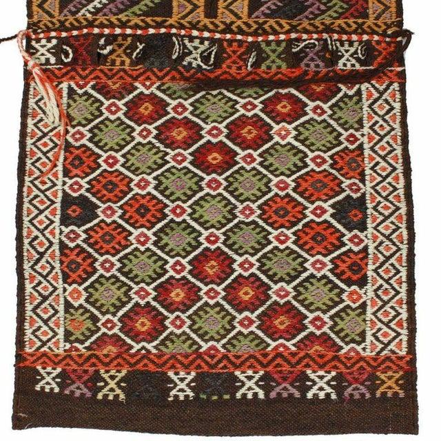 Red and Black Vintage Turkish Cicim Saddlebag - Image 3 of 3