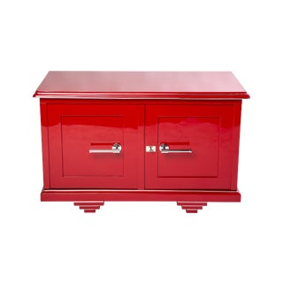 Cherry Red Lacquer Art Deco Sideboard