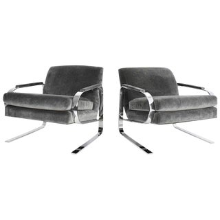 Milo Baughman Attributed Chrome Grasshopper Framed Lounge Chairs