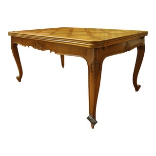 French Parquetry Cherry Wood Dining Table