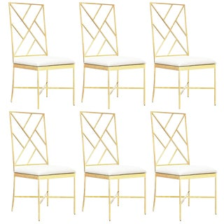 Worlds Away Ashton Gold Chairs, White – Set Of 6