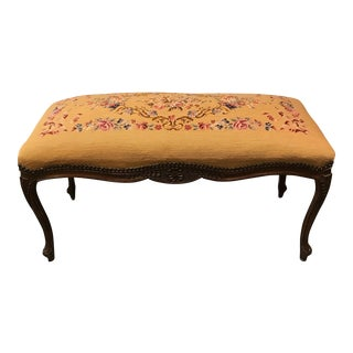 Vintage Needlepoint Bench with Queen Anne Legs