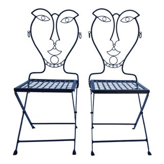 John Risley Style Black Painted Iron Folding Accent Chairs - A Pair