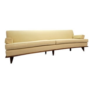 Mid-Century Danish Modern Concave Faced White Sofa