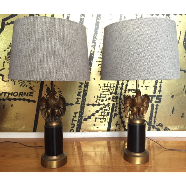Vintage Federal Style Brass Eagle Lamps - Pair - Image 6 of 6