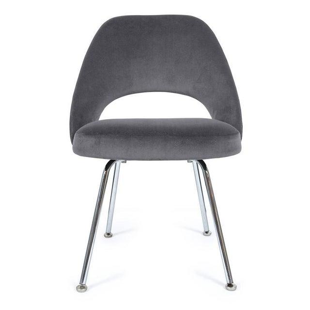 Saarinen Executive Armless Chairs in Gunmetal Grey Velvet, Set of Six - Image 2 of 4