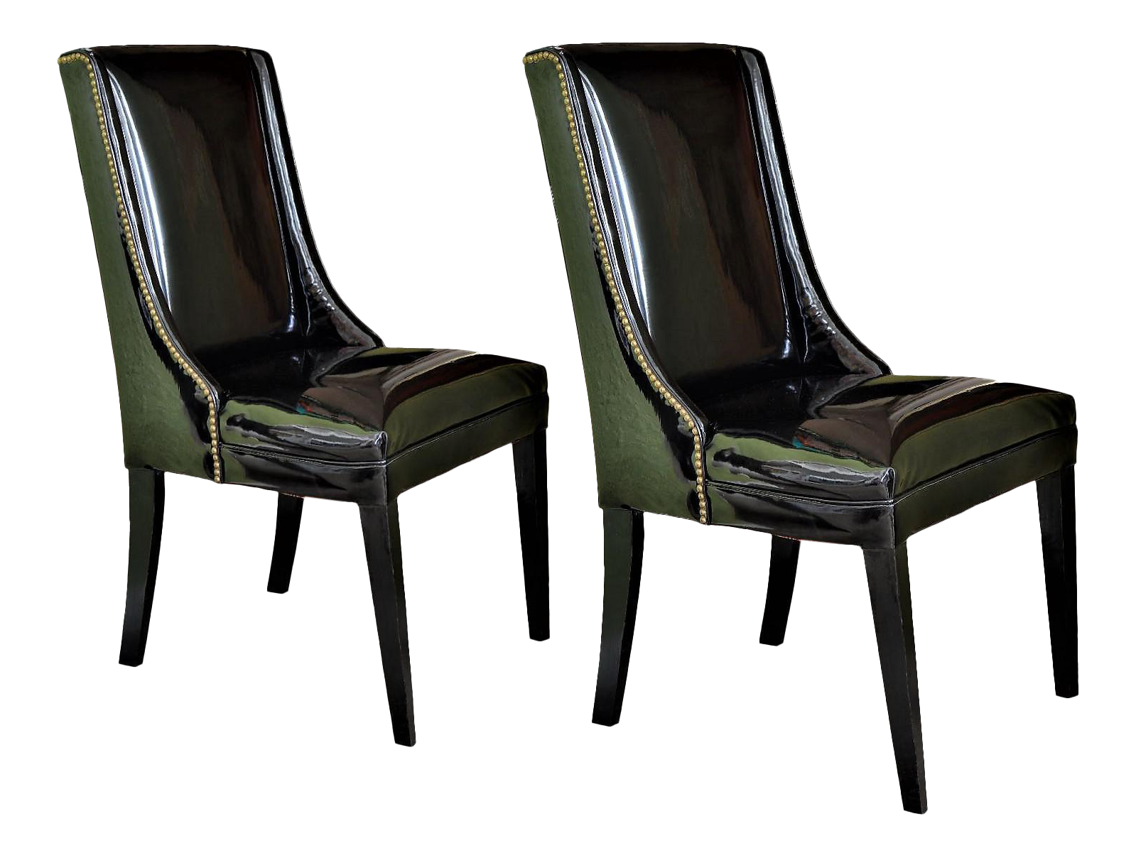 1960u0027s vintage black patent leather wingback chairs with brass studs hollywood regency mid century modern mcm