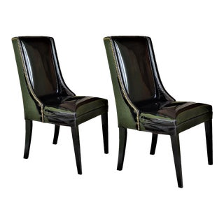 1960's Vintage Black Patent Leather Wingback Chairs With Brass Studs Mid Century Modern MCM A-Pair