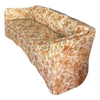 Drexel Mid Century Hollywood Regency Floral Curved Back Sofa