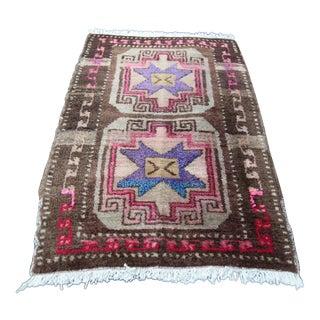 """Vintage Handmade Turkish Wool Rug - 2' 10"""" x 1' 9''"""