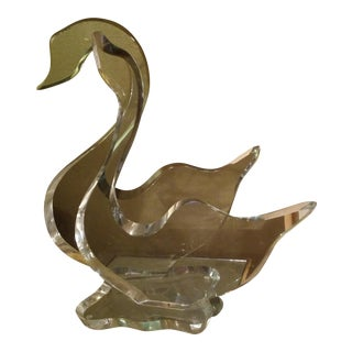 Signed Lucite Swan Sculpture
